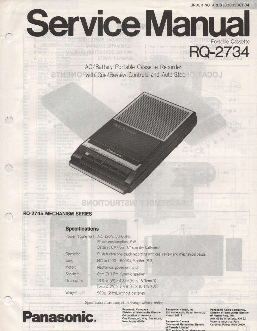 RQ-2734 Cassette Tape Recorder Service Manual