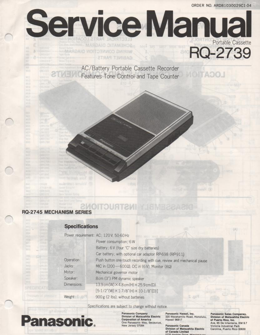 RQ-2739 Cassette Tape Recorder Service Manual