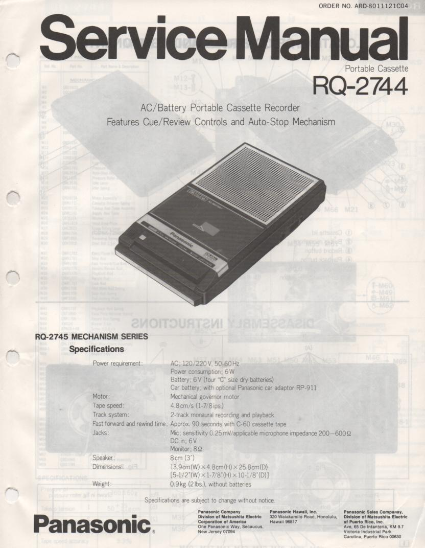 RQ-2744 Cassette Tape Recorder Service Manual