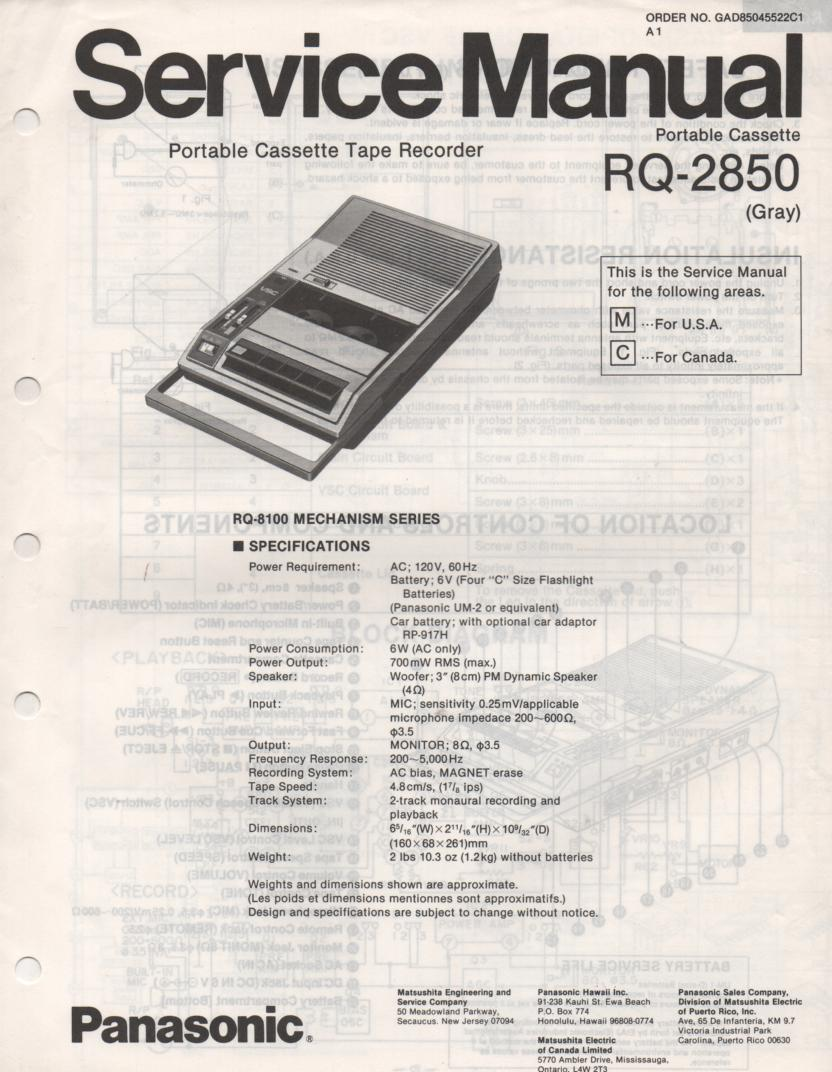 RQ-2850 Cassette Tape Recorder Service Manual