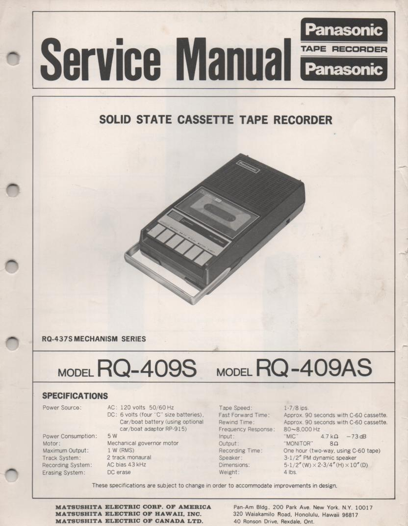 RQ-409S RQ-409AS Cassette Tape Recorder Service Manual