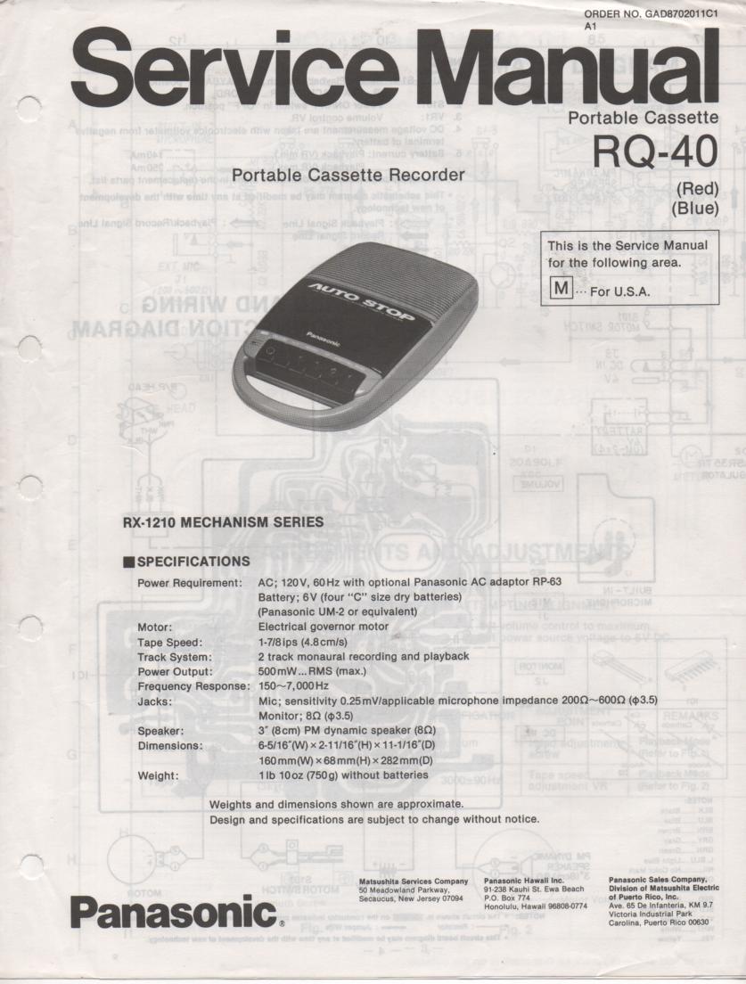 RQ-40 Portable Cassette Recorder Service Manual