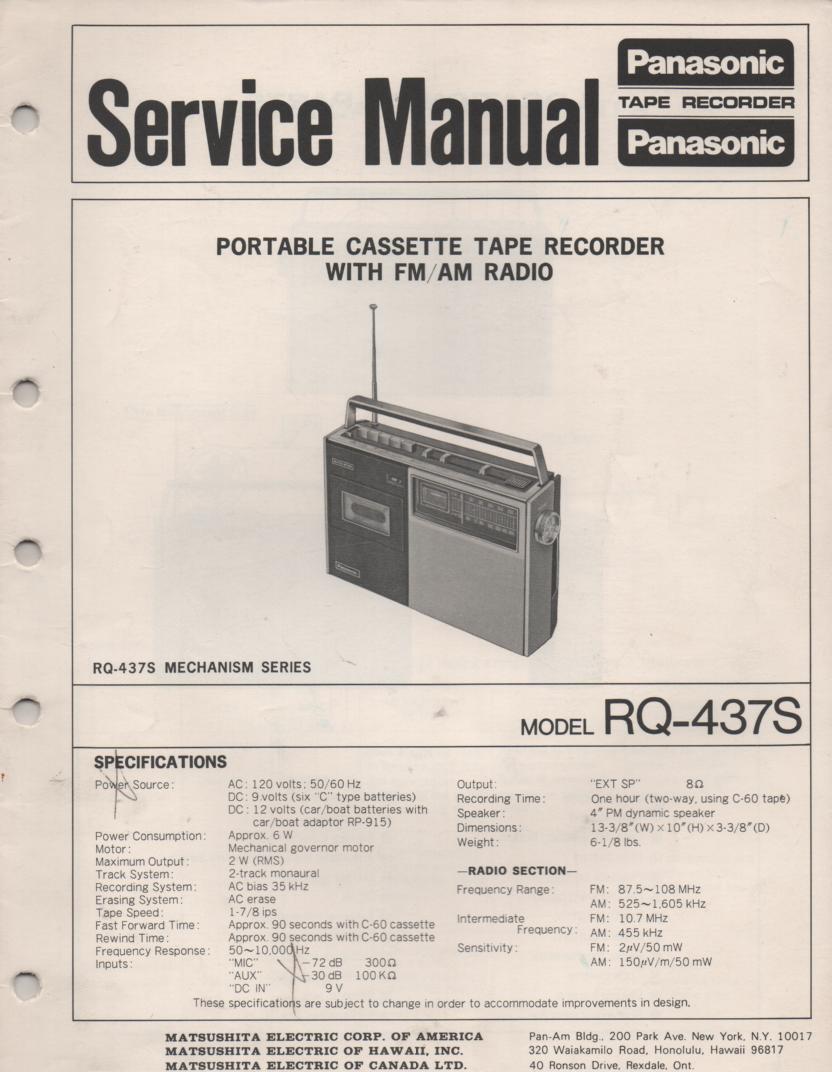 RQ-437S Cassette Radio Service Manual