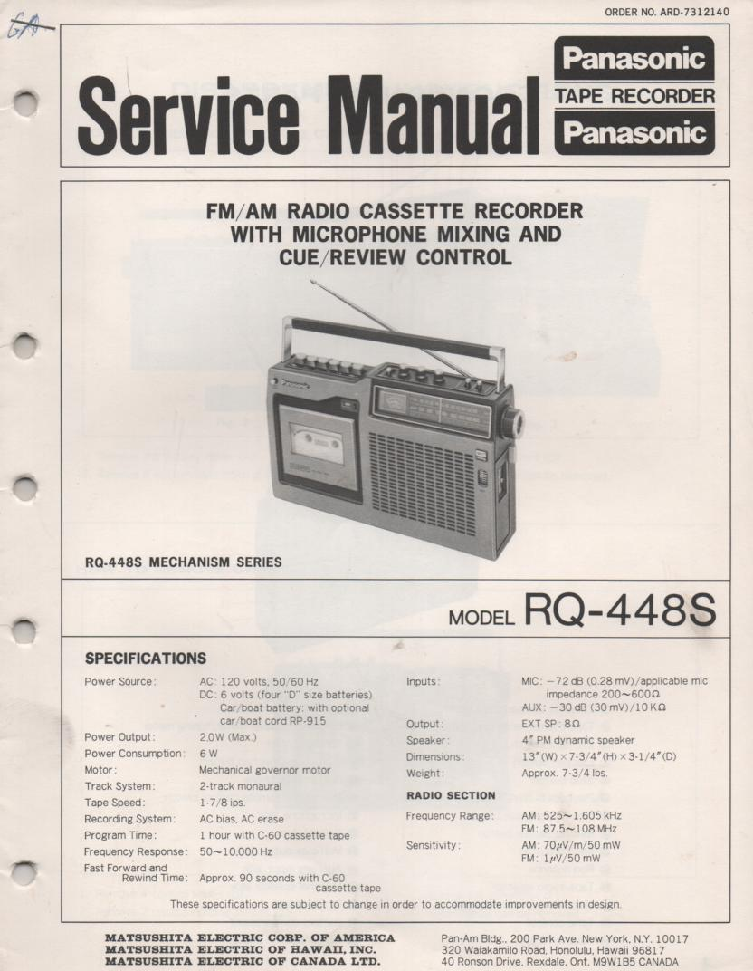 RQ-448S Cassette Radio Service Manual