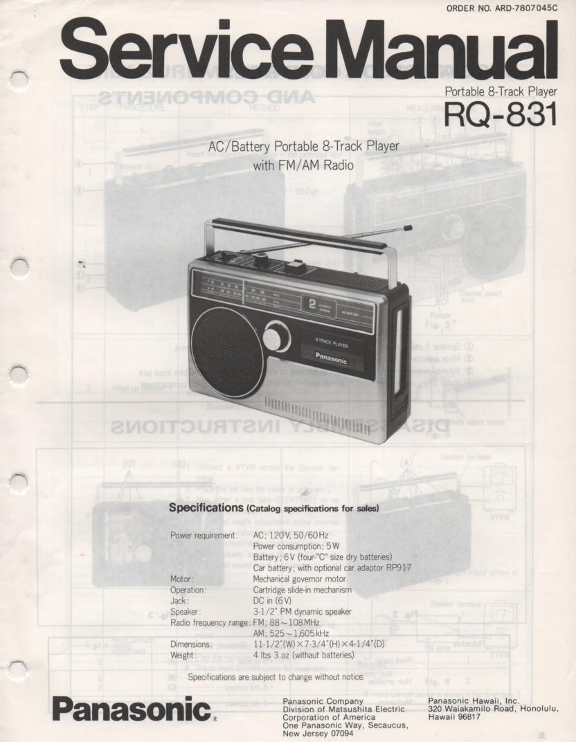 RQ-831 8-Track Radio Service Manual