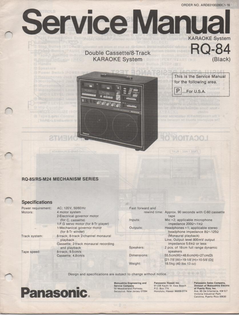 RQ-84 Cassette 8-Track Karaoke  System Service Manual