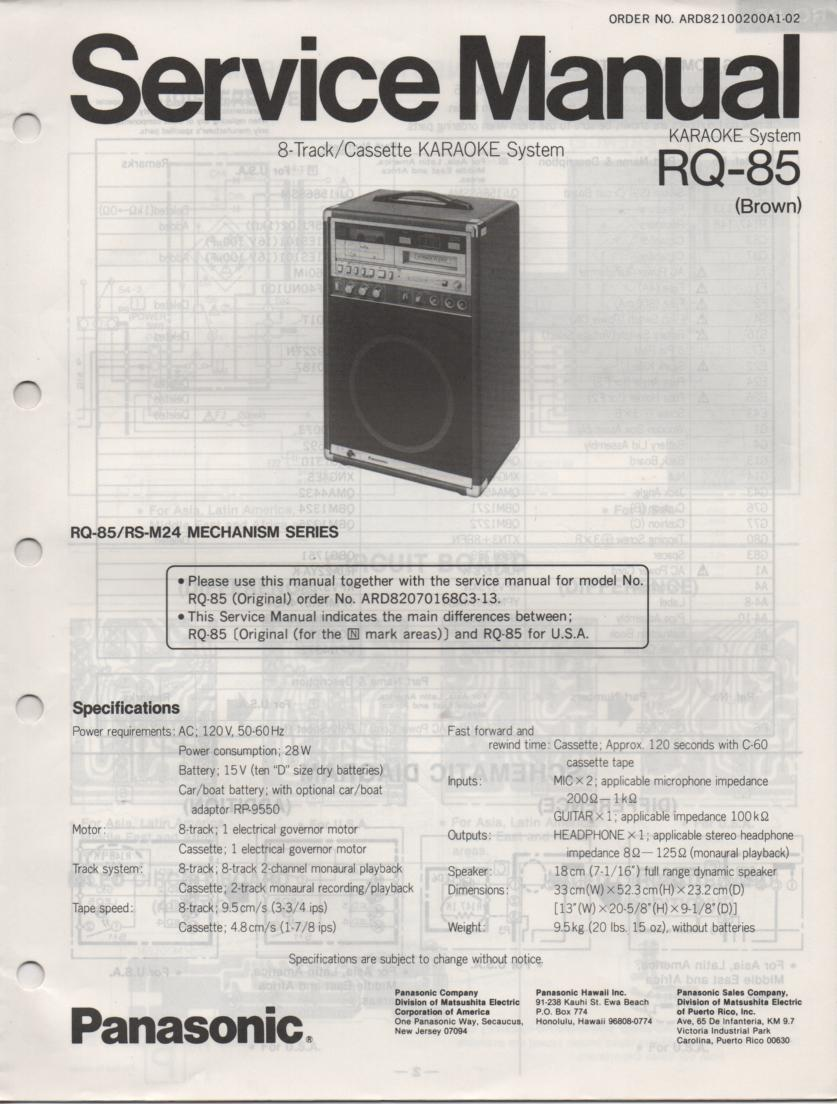 RQ-85 Cassette 8-Track Karaoke System Service Manual