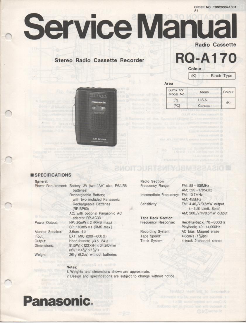RQ-A170 Radio Cassette Recorder Service Manual