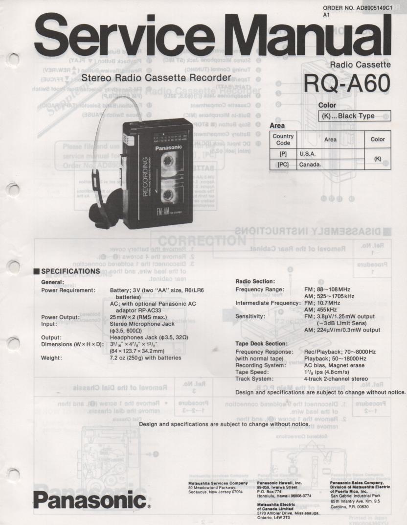 RQ-A60 Radio Cassette Recorder Service Manual