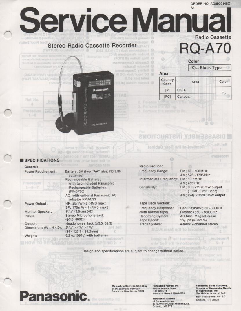 RQ-A70 Radio Cassette Recorder Service Manual