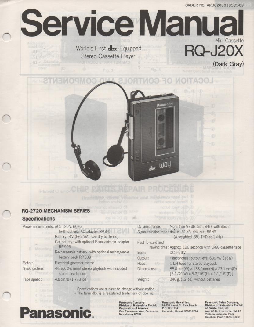 RQ-J20X Cassette Player Service Manual