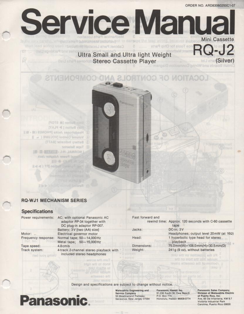 RQ-J2 Radio Cassette Player Service Manual