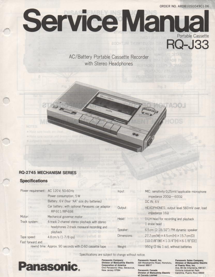 RQ-J33 Radio Cassette Player Service Manual