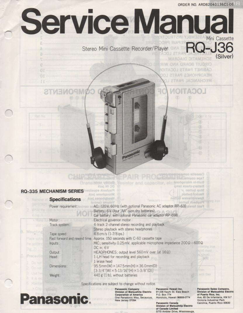 RQ-J36 Cassette Recorder Service Manual