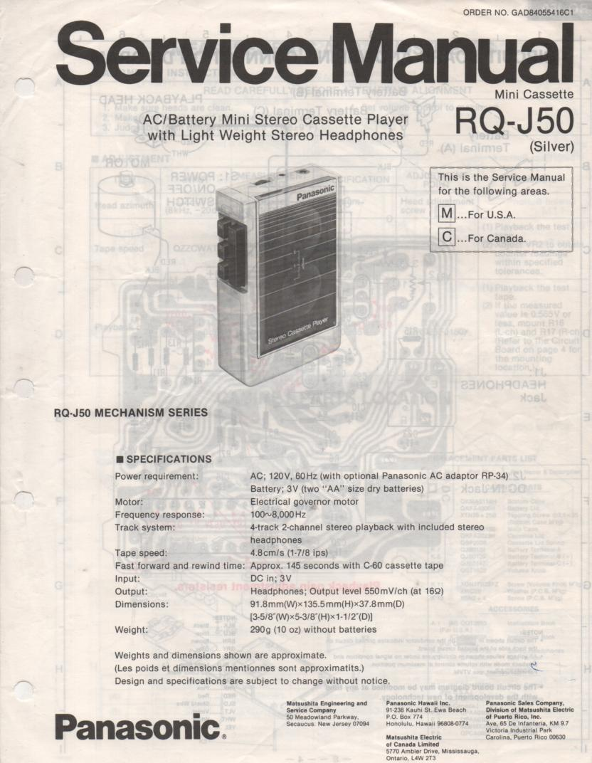 RQ-J50 Cassette Recorder Player Manual