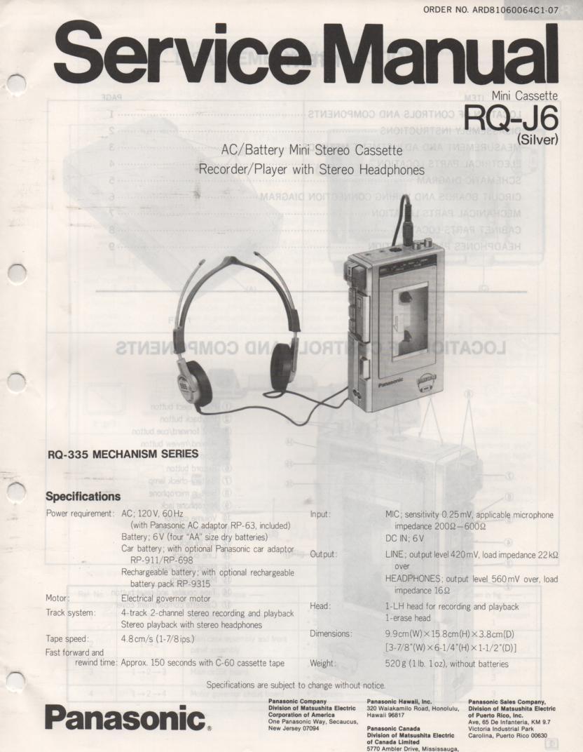 RQ-J6 Radio Cassette Recorder Service Manual