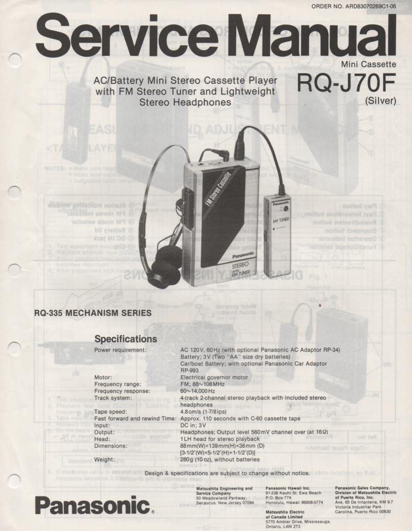 RQ-J70F Radio Cassette Player Service Manual