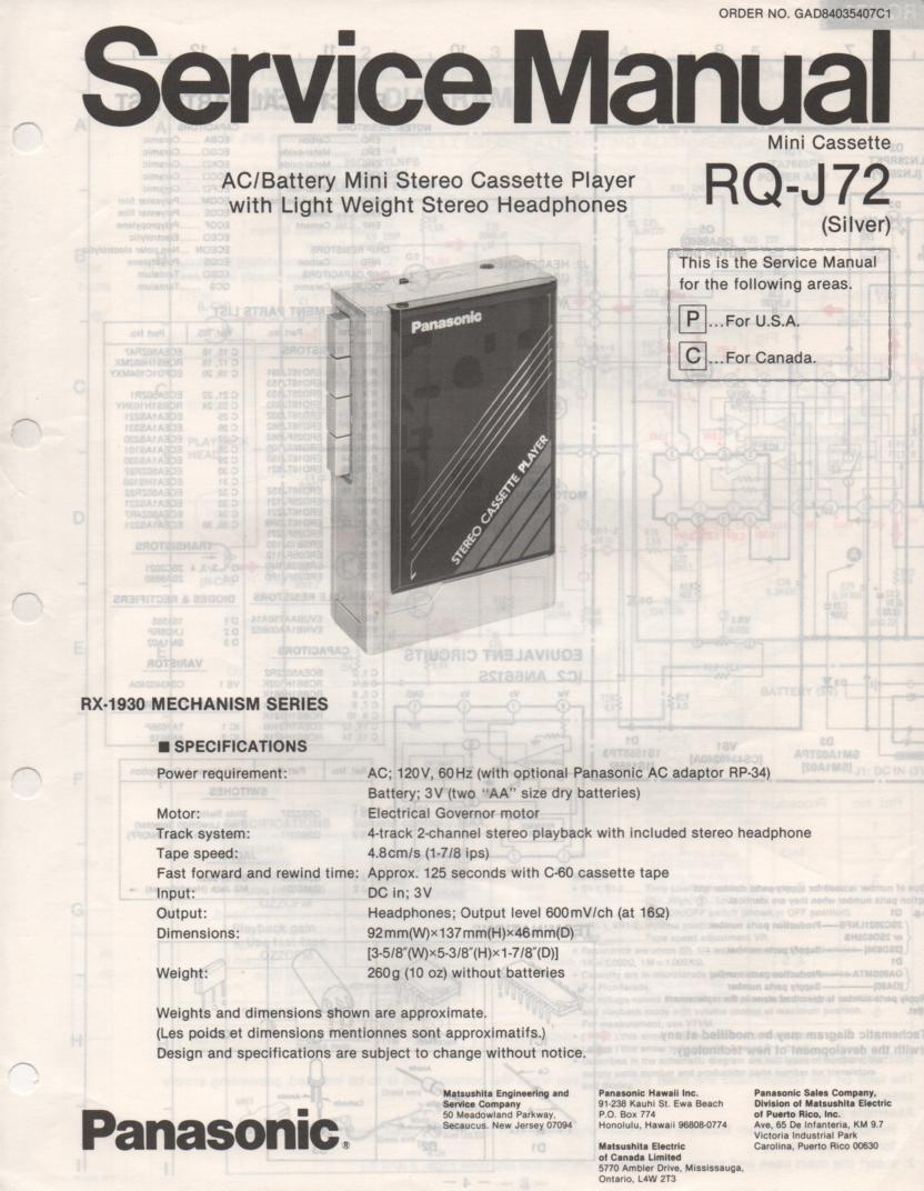 RQ-J72 Cassette Player Service Manual