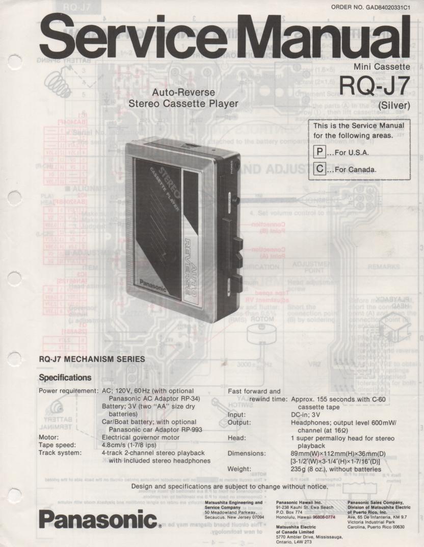 RQ-J7 Radio Cassette Player Service Manual