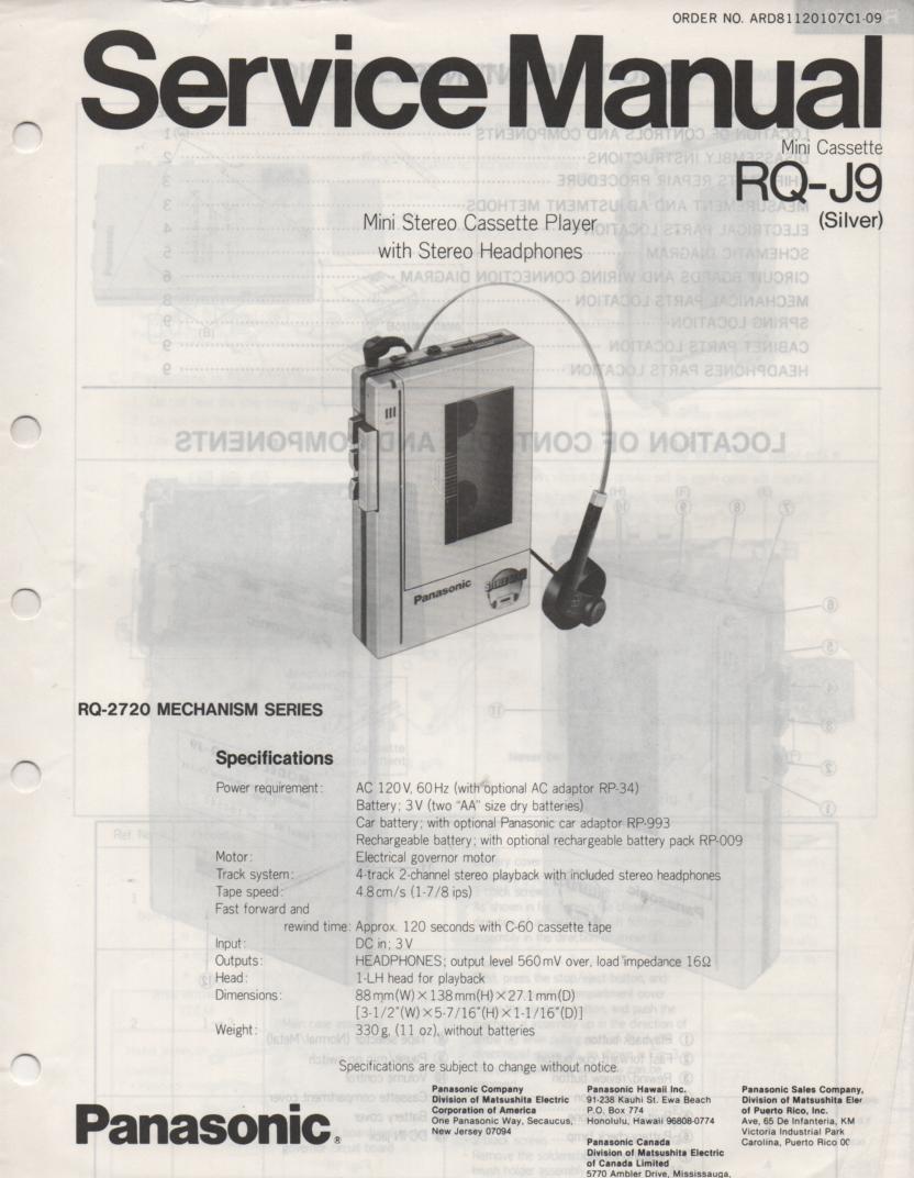 RQ-J9 Radio Cassette Player Service Manual