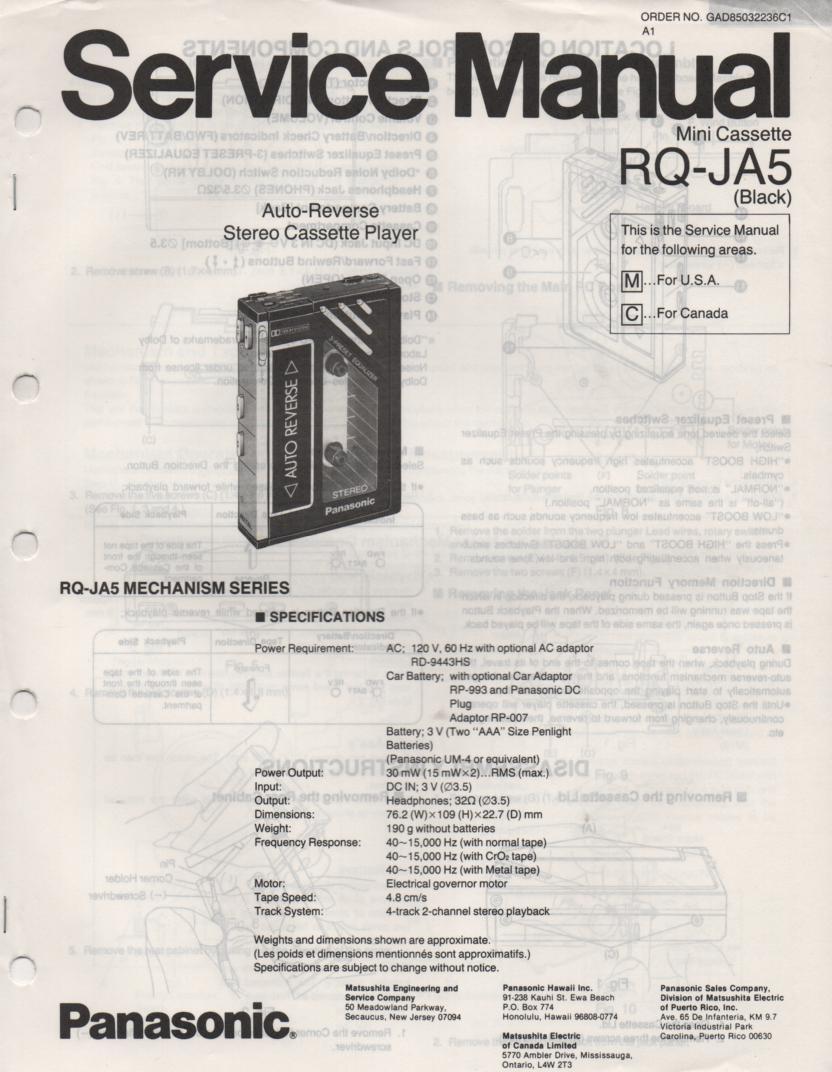RQ-JA5 Mini Cassette Player Service Manual