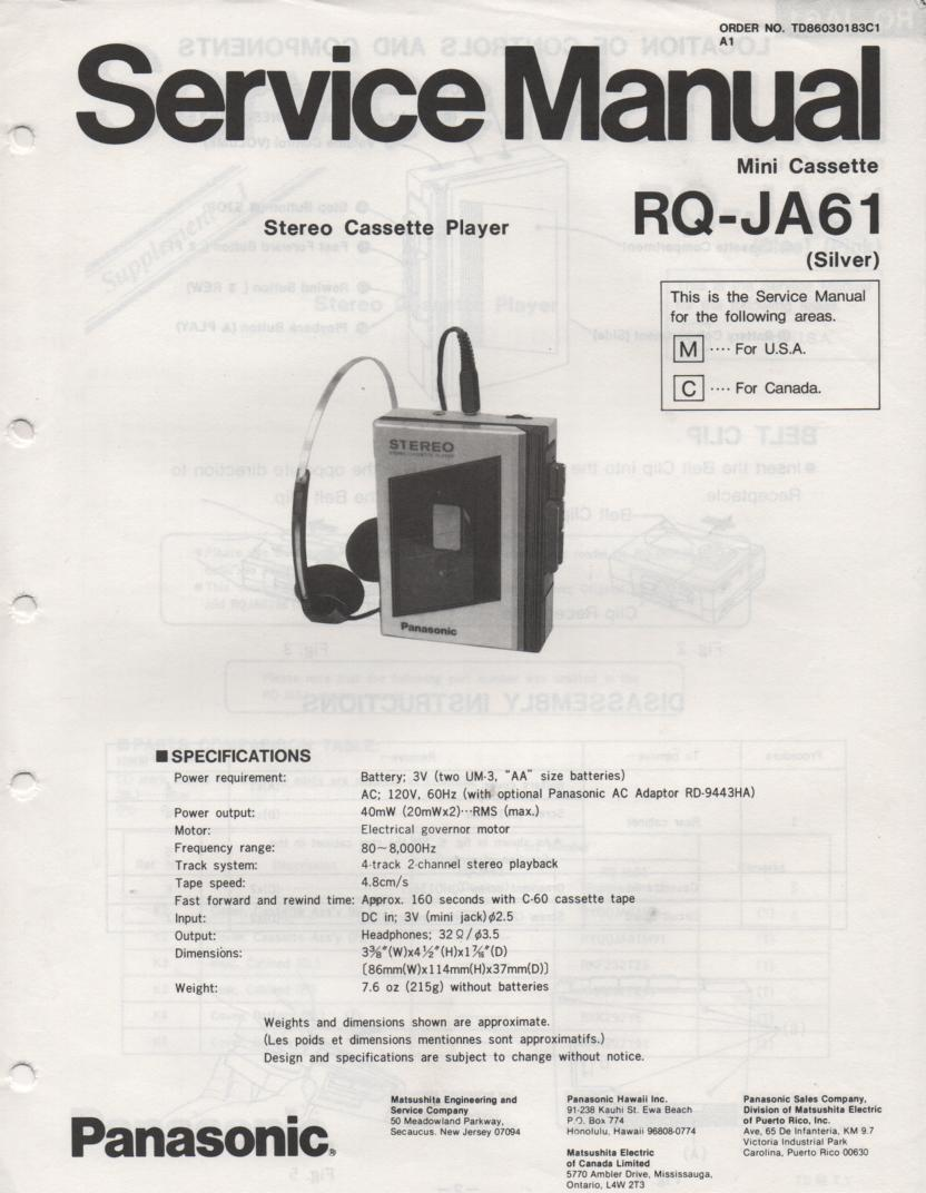 RQ-JA61 Radio Cassette Recorder Service Manual