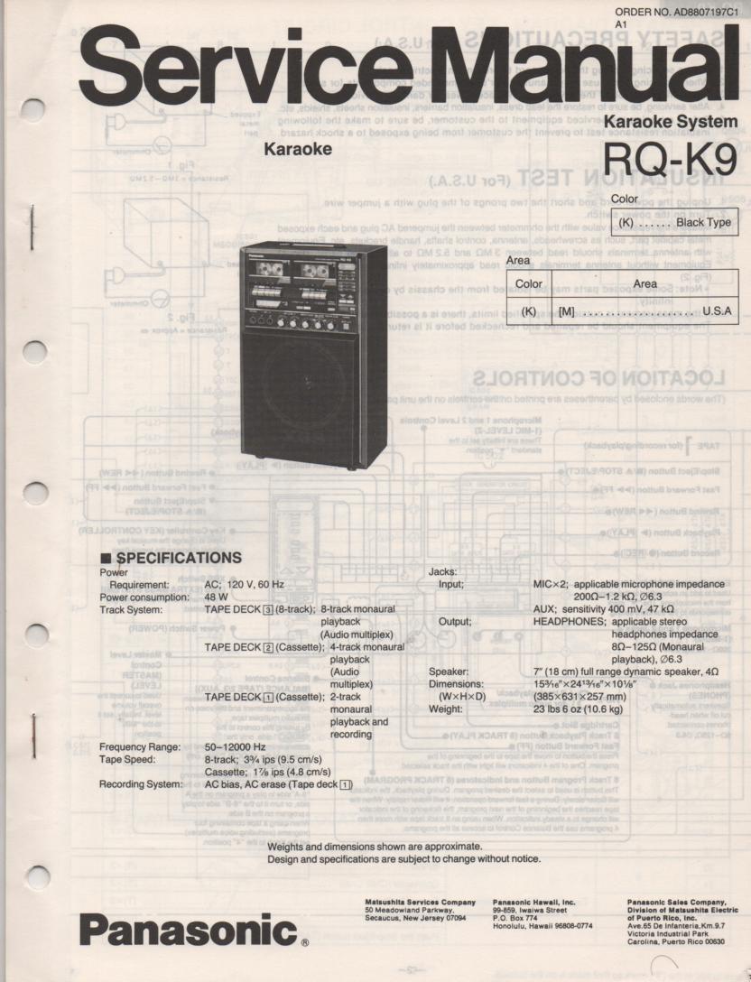 RQ-K9 Karaoke System Service Manual