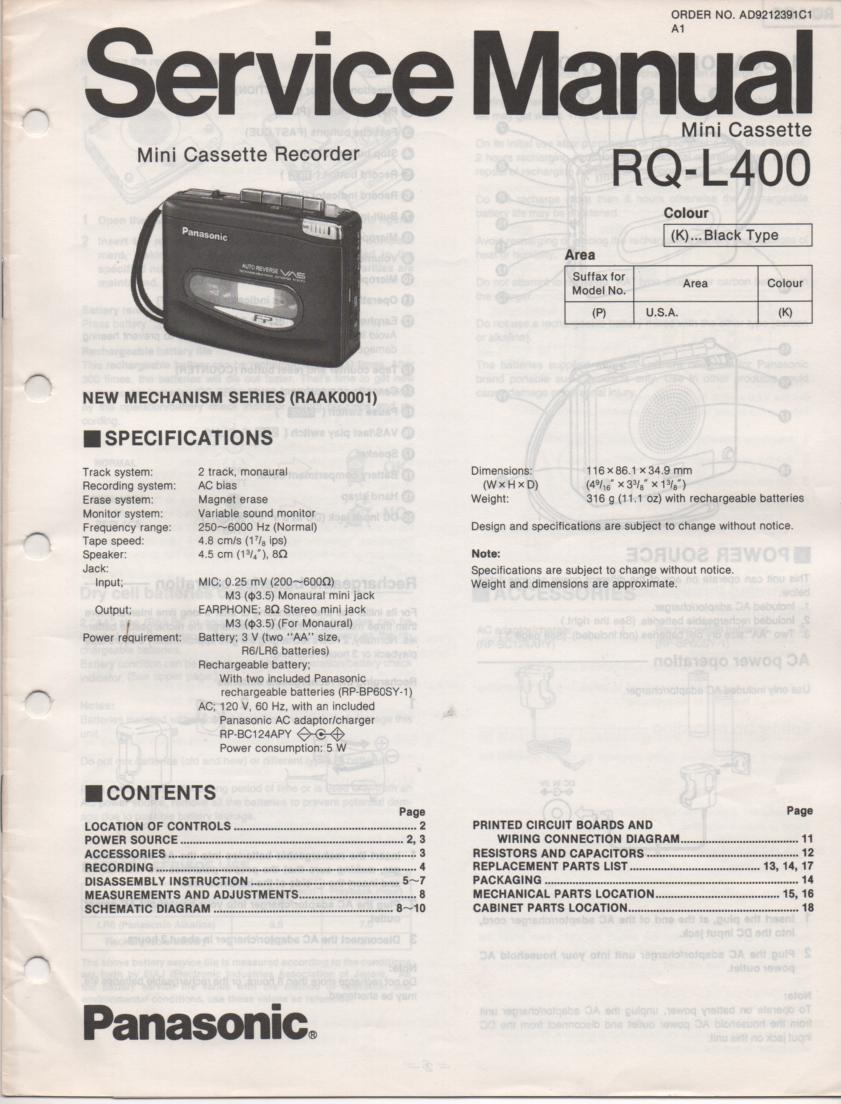 RQ-L400 Mini Cassette Recorder Service Manual