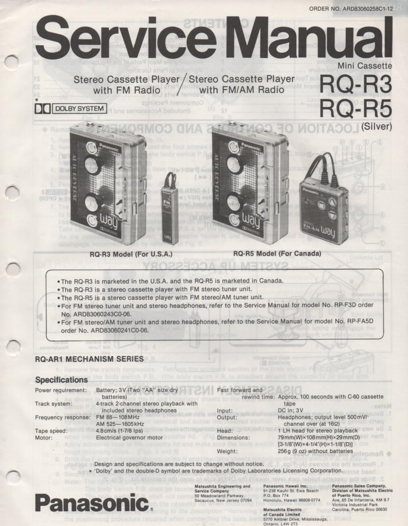 RQ-R3 RQ-R5 Mini Cassette Recorder Service Manual