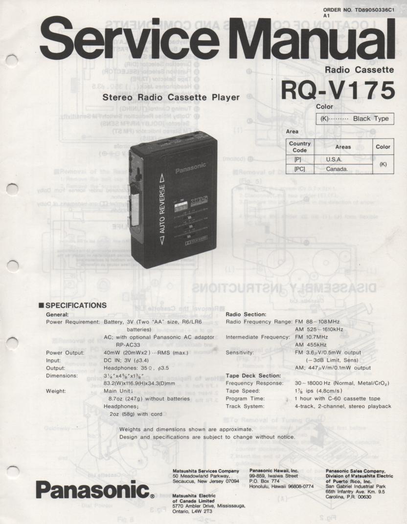 RQ-V175 Mini Cassette Player Radio Service Manual