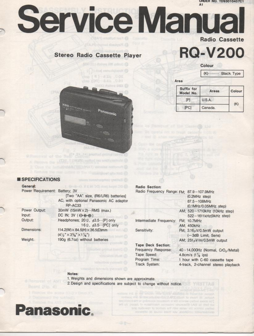 RQ-V200 Mini Cassette Player Radio Service Manual