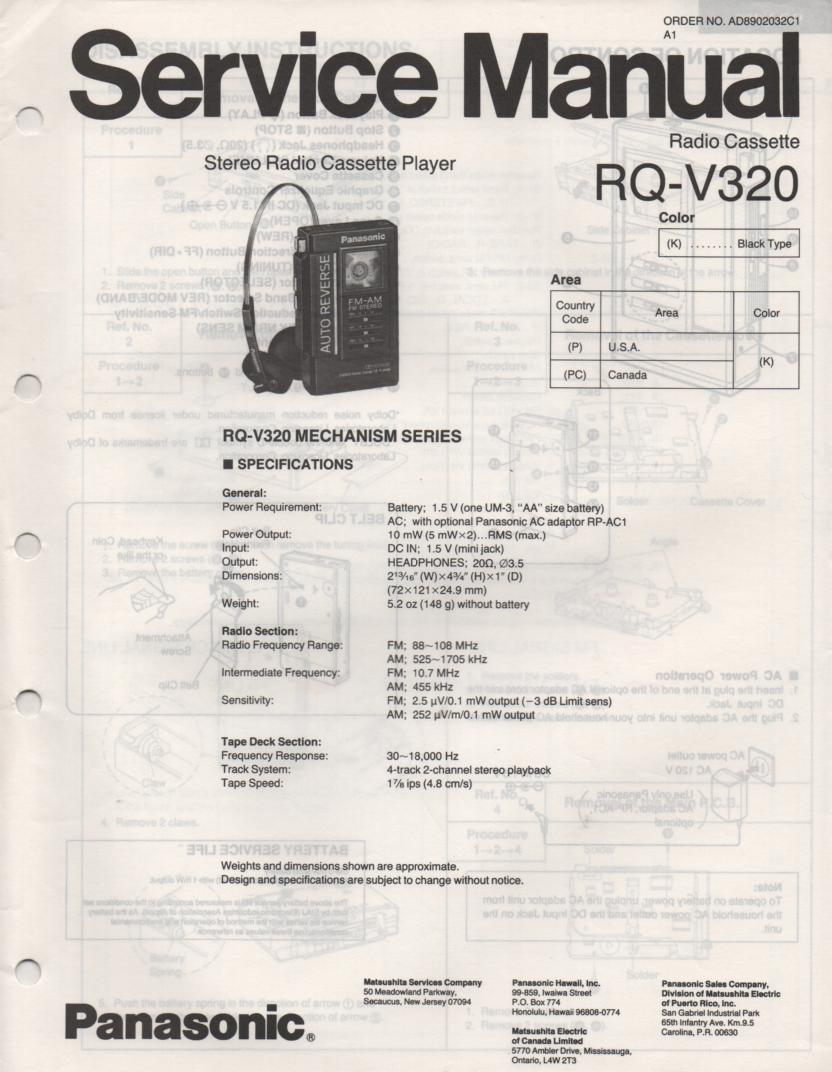 RQ-V320 Mini Cassette Player Radio Service Manual