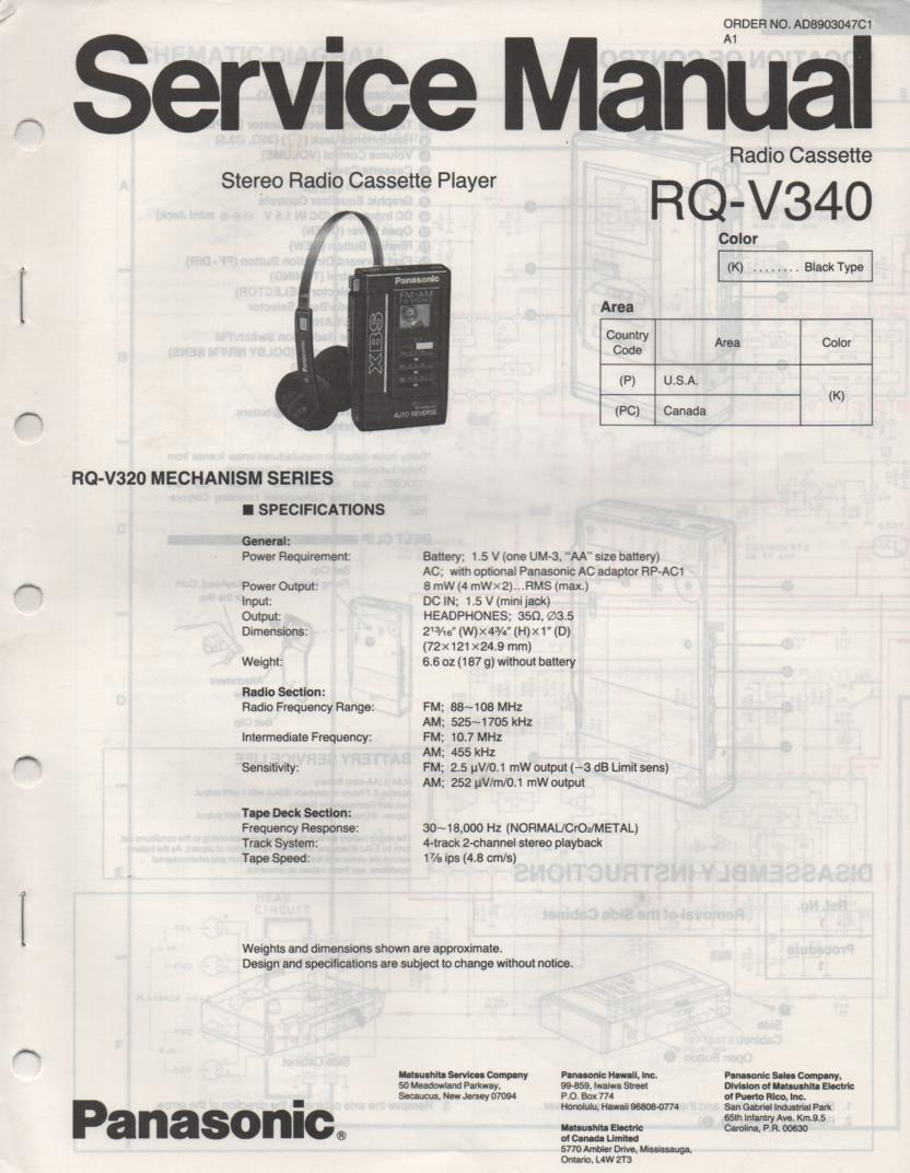 RQ-V340 Mini Cassette Player Radio Service Manual