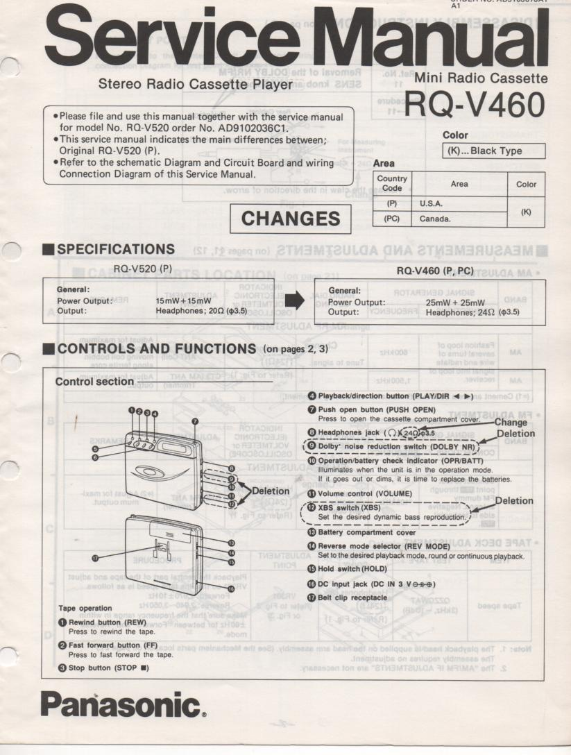 RQ-V460 Mini Cassette Player Radio Service Manual.. Use with RQ-V520