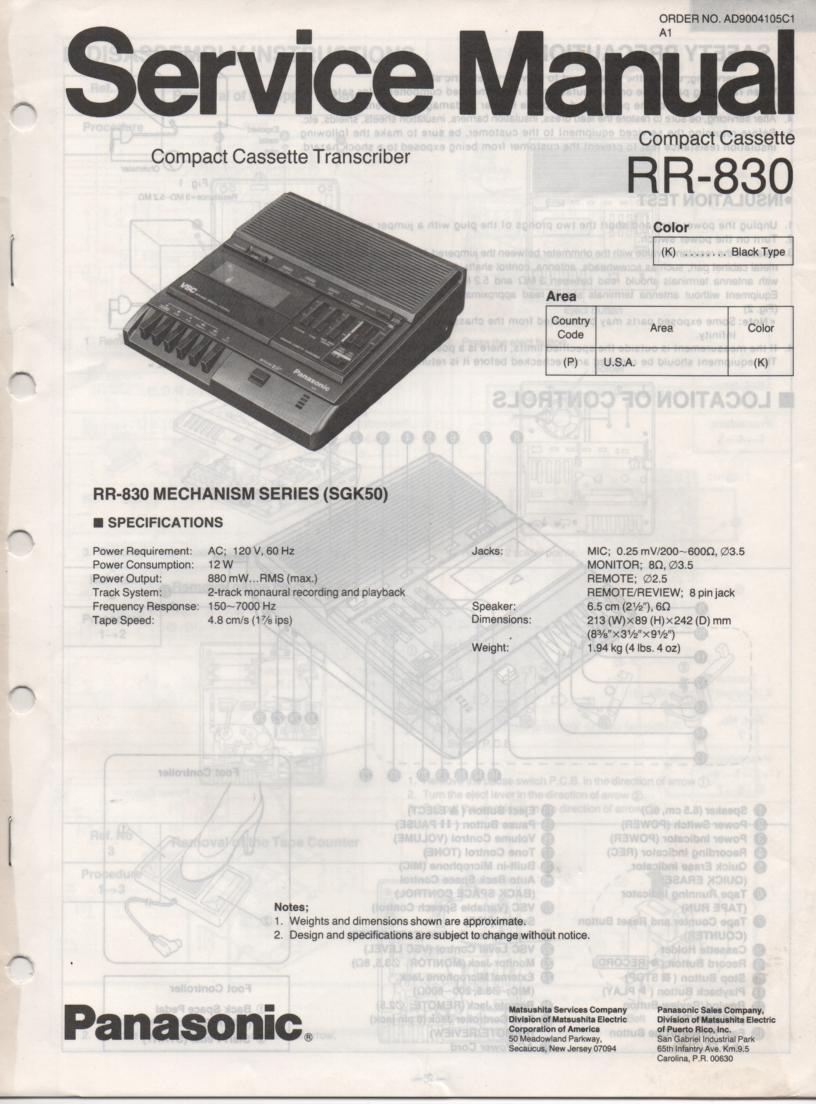 RR-830 Compact Cassette Transcriber Service Manual