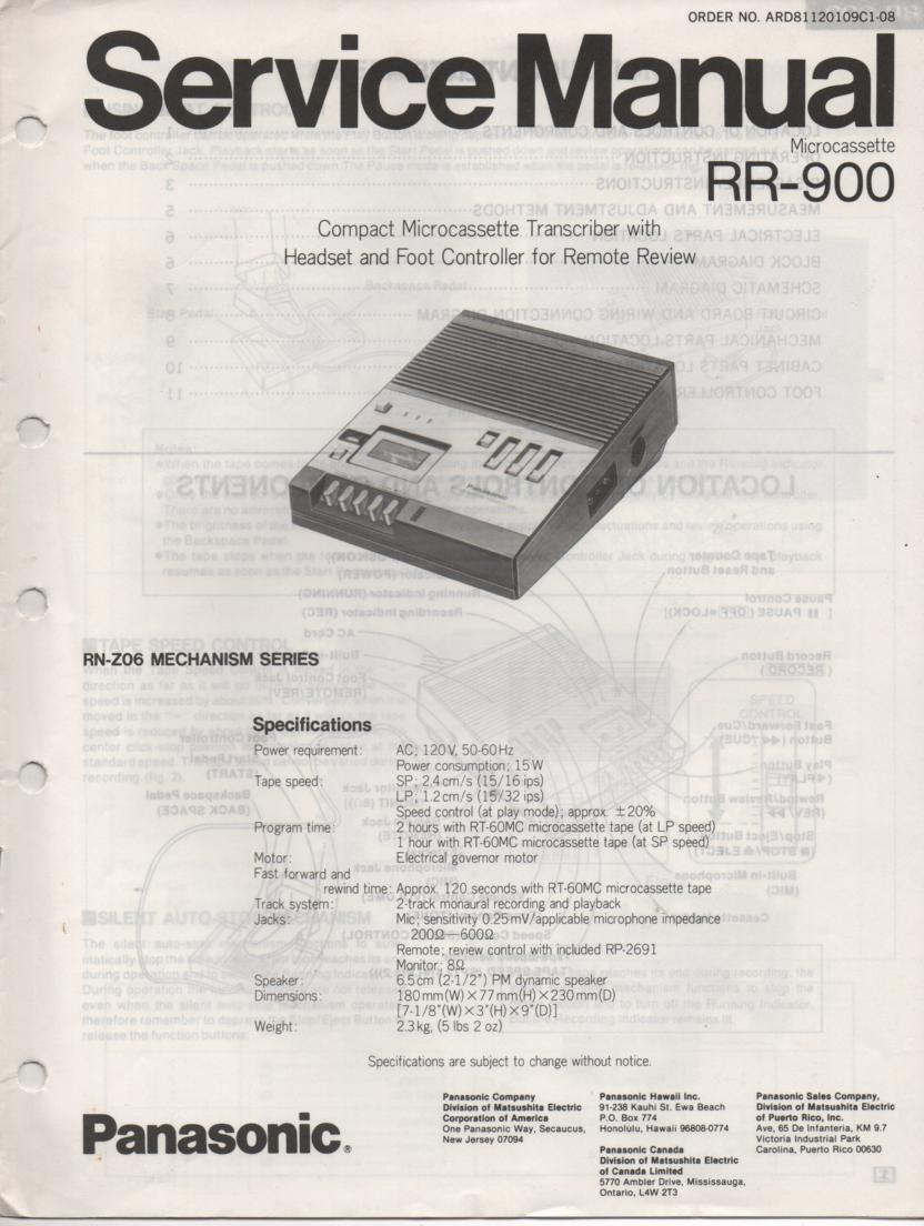RR-900 Microcassette Transcriber Service Manual