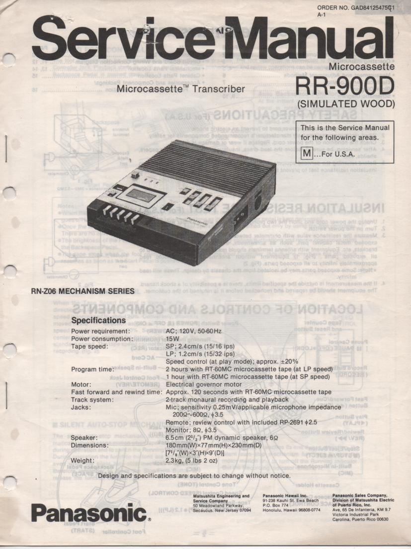 RR-900D Microcassette Transcriber Service Manual