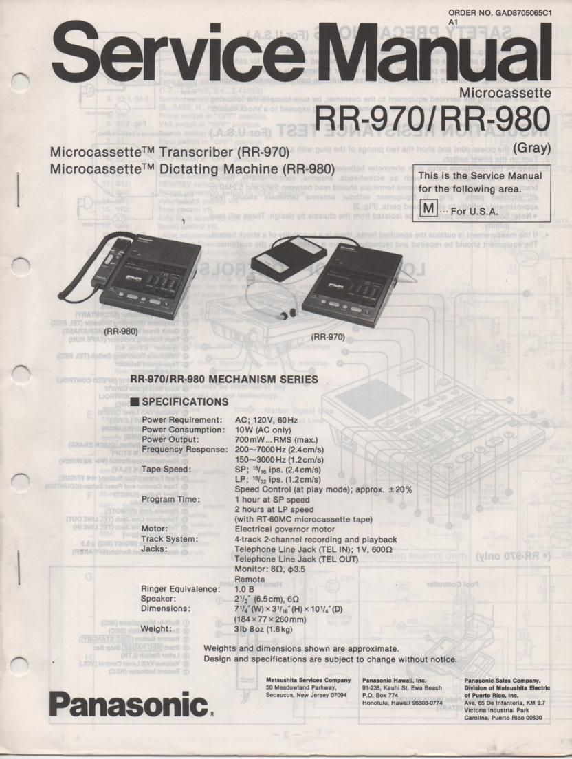 RR-970 Microcassette Transcriber Service Manual R-980 Microcassette Dictating Machine Service Manual. 2 manual set..