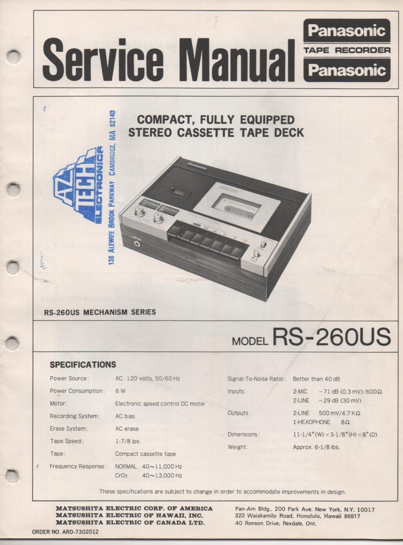 RS-260US Cassette Deck Service Manual