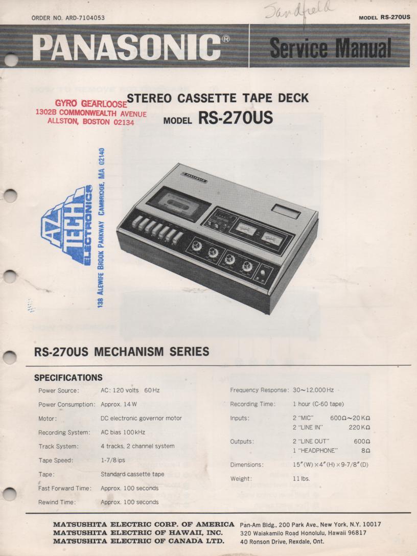 RS-270US Cassette Deck Service Manual