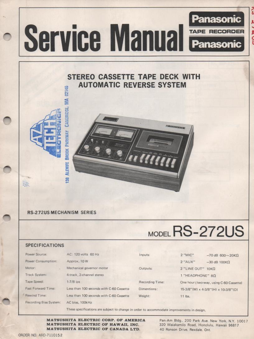 RS-272US Cassette Deck Service Manual
