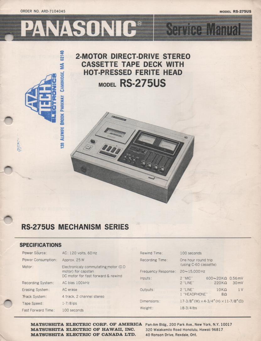 RS-275US Cassette Deck Service Manual