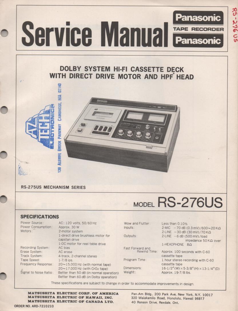 RS-276US Cassette Deck Service Manual