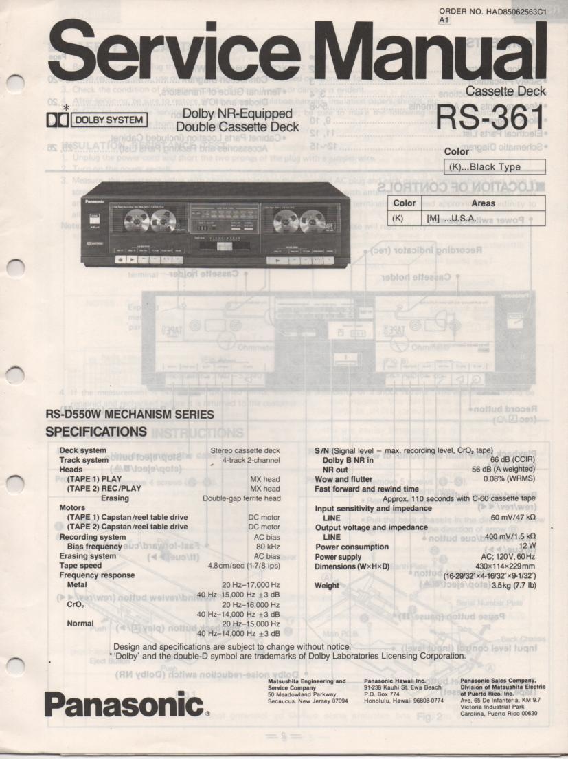 RS-361 Cassette Deck Service Manual