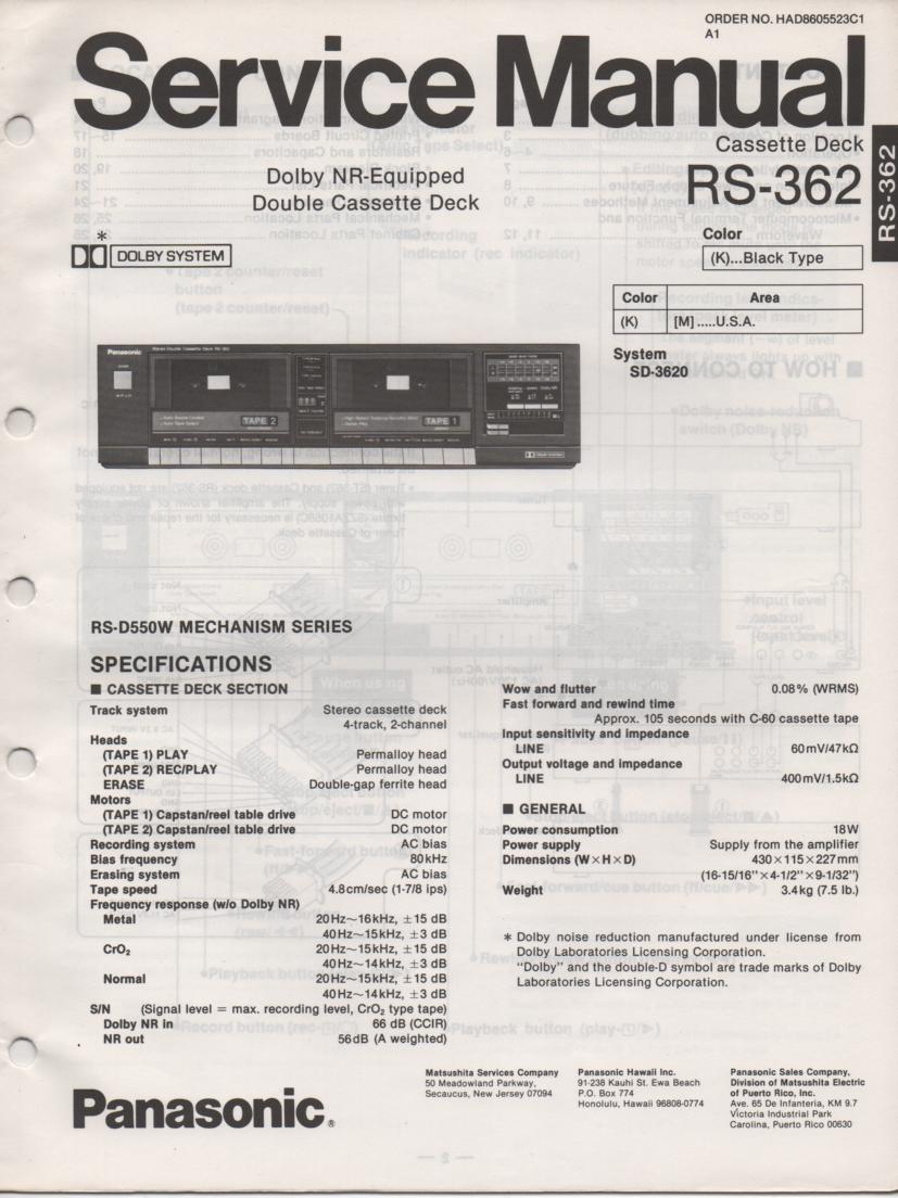 RS-362 Cassette Deck Service Manual