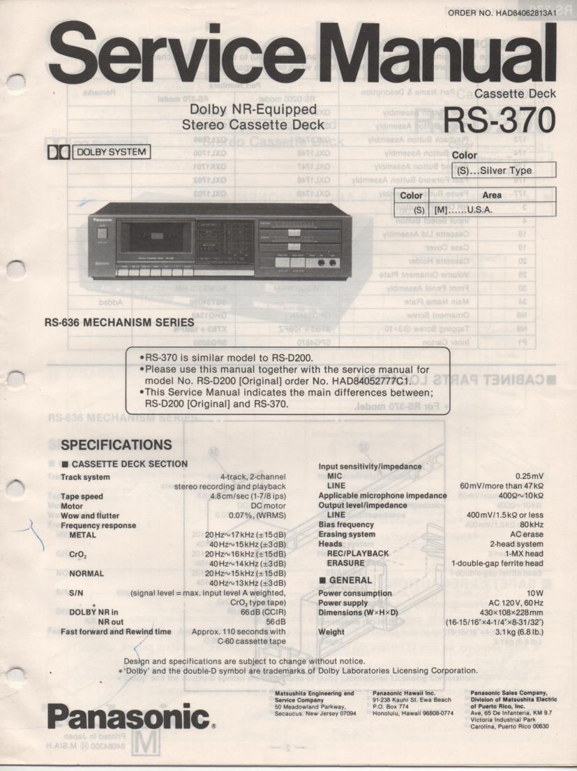 RS-370 Cassette Deck Service Manuals