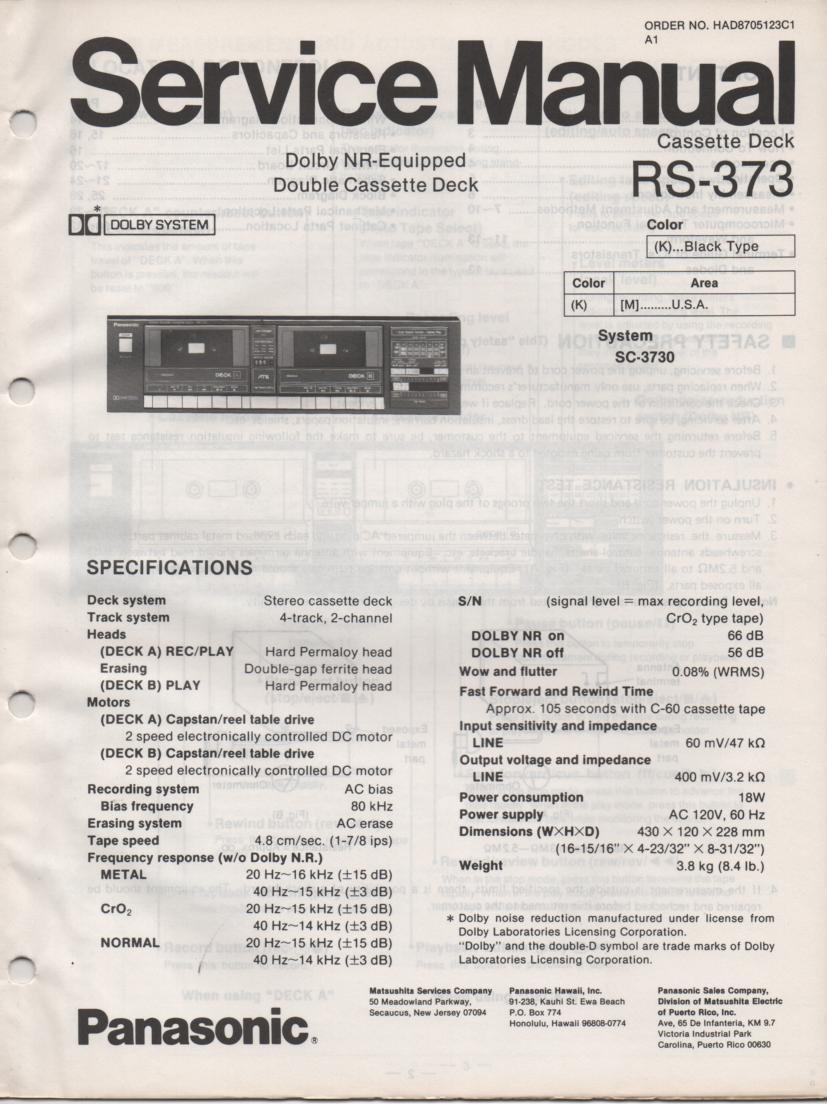 RS-373 Cassette Deck Service Manuals