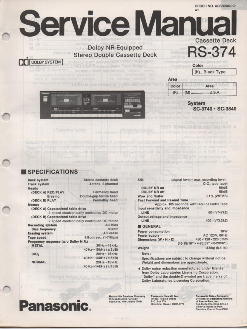 RS-374 Cassette Deck Service Manuals