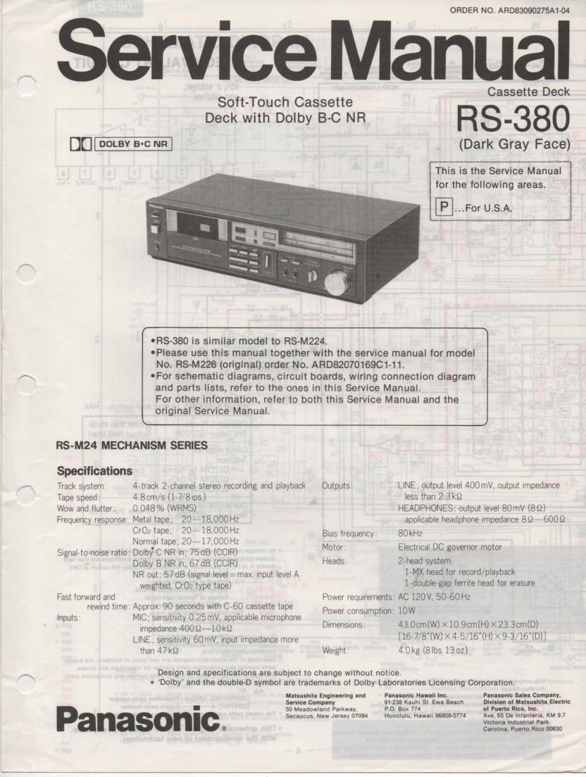 RS-380 Cassette Deck Service Manuals.  Schematic and parts list only..