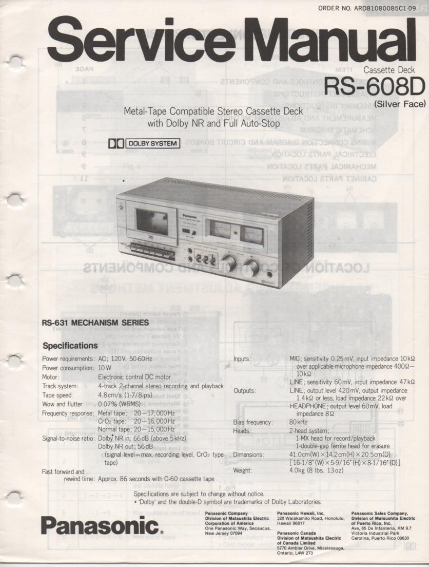 RS-608D Cassette Deck Service Manual